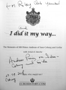 Memoirs of Prince Andreas-inscription